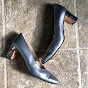 Ferragamo Silver Mirror Heels 2.5in. Sz 6.5